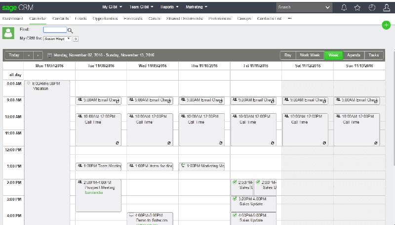Sage CRM 2017 Enhanced Calendar