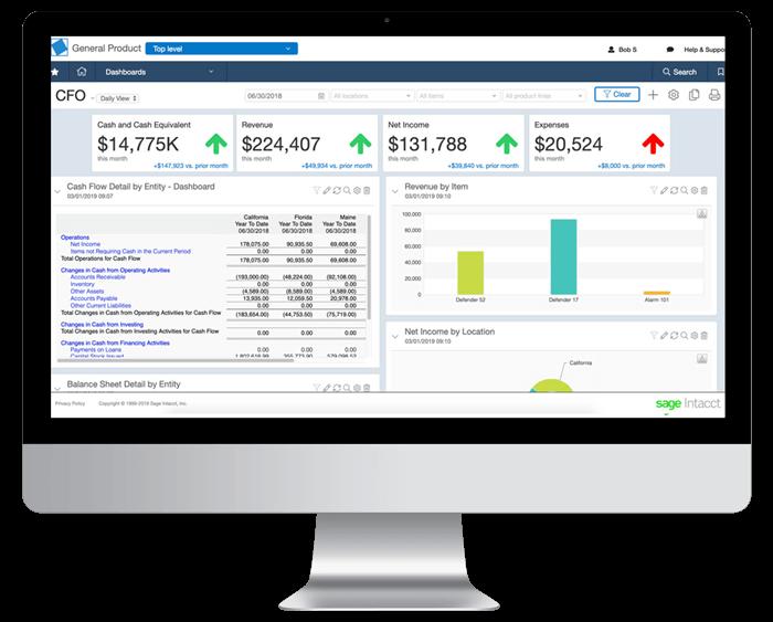 Intacct Financial Report Screen