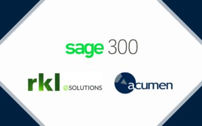 Acumen Information Systems Chosen to Serve RKL eSolutions Sage 300 ERP Practice