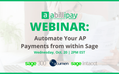 Webinar Wednesday: Automate Your AP Payments from within Sage
