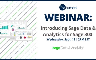 Webinar Wednesday: Introducing Sage Data & Analytics for Sage 300